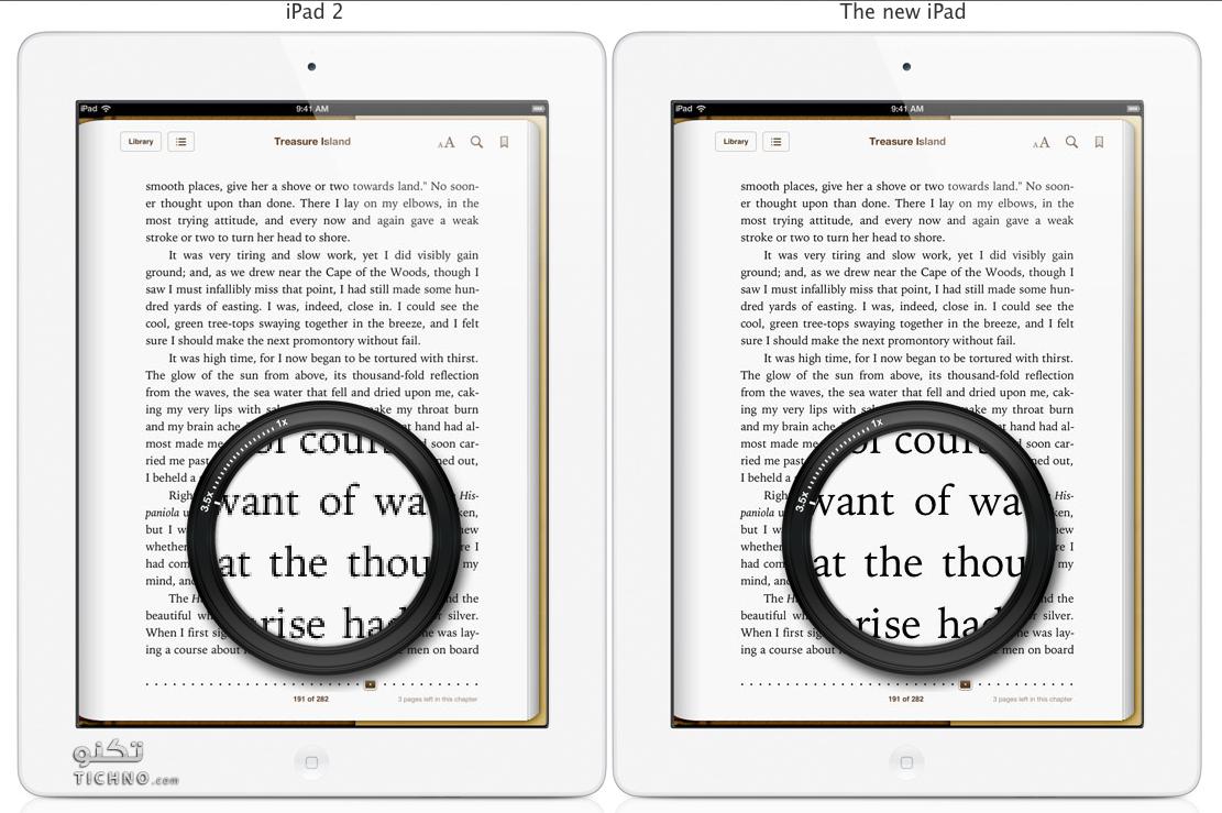 مقارنة بين شاشة الايباد ٢ والايباد ٣ الجديد